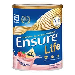 ENSURE LIFE COMPLETE, BALANCED NUTRITION POWDER - STRAWBERRY 850G