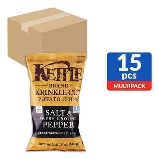 Kettle Brand Krinkle Cut Potato Chips - Salt & Pepper