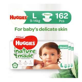 Huggies Baby Platinum Naturemade Tape Diapers - L (9-14kg)
