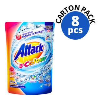 ATTACK CONCENTRATED LIQUID DETERGENT REFILL COLOUR 1.4KG 8S