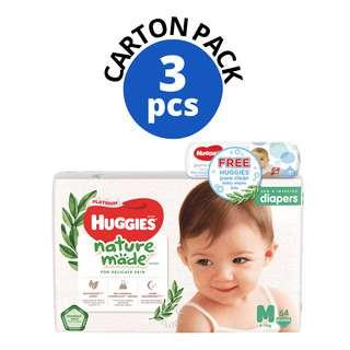 HUGGIES HUG DIAPER NATURAL MADE SUPER JUMBO PACK M64S+WIPE 64S 3S