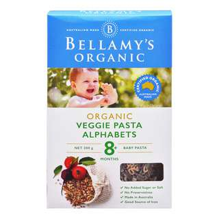 <p>Bellamy&#39;s Organic Vegie Alphabet Pasta is a novel way to introduce colour and new vegetables to your baby&#39;s diet.</p>