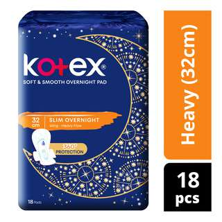 Kotex Soft & Smooth Slim Overnight Wing Pads - Heavy(32cm)