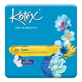 Kotex Soft & Smooth Maxi Wing Pads - Regular Flow (24cm)