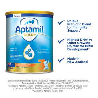 • Information applies to Aptamil Stage 3 (169.6mg) and Stage 4 (169.6mg) growing up milk as compared to other growing up milk (Stage 3 and 4) sold in Singapore as checked on 8 May 2020<br>• Information on milk for brain development Applies to Aptamil Stage 3 only<br>• Arslanoglu et al. 2008. Journal of Nutrition, 138:1091-1095<br>• ALA - Alpha Linolenic Acid<br>• LCPUFAs - Long chain polyunsaturated fatty acids - most nutritionally signifcant LCPUFAs are DHA and EPA<br>• DHA - Docosahexaenoic Acid<br>• EPA - Eicosapentaenoic Acid<br>• scGOS - short chain Galacto-oligosaccharides<br>• lcFOS - long chain Fructo-oligosaccharides