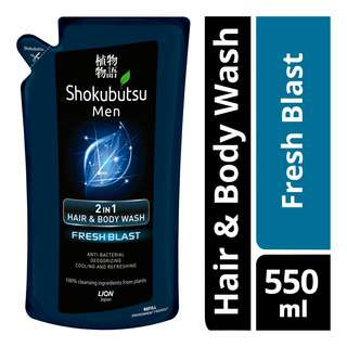 Shokubutsu Men 2 in 1 Hair & Body Wash Refill - Fresh Blast