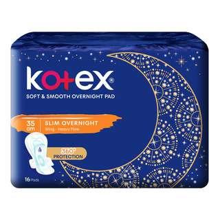 Kotex Soft & Smooth Slim Overnight Wing Pads -Heavy(35cm)