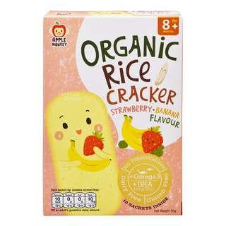 Apple Monkey Organic Rice Cracker - Strawberry + Banana
