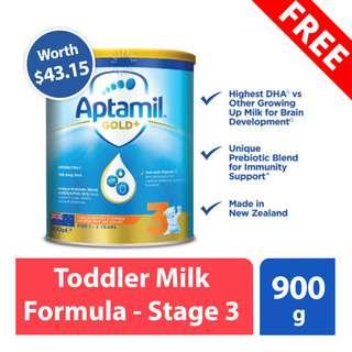 FREE Aptamil Toddler Milk Formula - Stage 3 (worth $43.15)