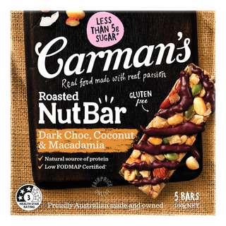 Carman's Nut Bars - Dark Choc, Macadamia & Coconut