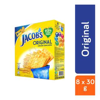 Jacob's Original Cream Crackers have 93-percent wheat cereal to offer you healthier breakfast snack. It has 30-percent less fat content as compared to other crackers and have s a unique combination of vitamins and minerals (Vitamin A,B1, B2, B3, B12, Calcium, Iron and Iodine). Jacob biscuits serves as a good source of fibre and carbohydrates contributing to well balanced healthy breakfast diet.