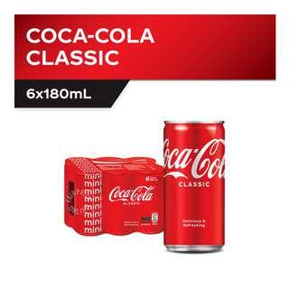 Coca-Cola Classic Mini Cans (6 x 180ml) Pack