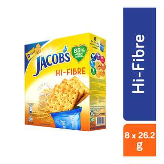 Jacob's Hi Fibre Wheat Crackers! For over 60 years, Jacob's has been the preferred choice for people of all ages. Generations of Singaporeans trust and love Jacob's for its taste and product quality. The Jacob's range of products has grown and evolved from a plain cracker to a comprehensive range of quality crackers including Cream Cracker, Weetameal, Hi-Fibre and Low Salt Hi-Fibre. Enjoy all of Jacob's biscuits now!