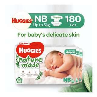 Huggies Baby Platinum Naturemade Tape Diapers - Newborn (0-5kg)