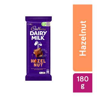 Cadbury Dairy Milk milk chocolate with hazelnut pieces, the roasted hazelnuts provide a delicious combination of chocolate and hazelnut taste and texture, perfect for any nut lover. Unique multi-textural combinations of chocolate and Hazelnut for an engagingly indulgent experience. Cadbury Dairy Milk Chocolate is for those everyday moments of joy that you want to share with your near and dear ones with something sweet. It stands for goodness, a moment of pure magic.