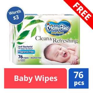 FREE MamyPoko Baby Wipes (worth $3)
