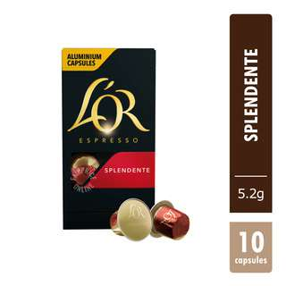 L'OR has created a newgenerationofaluminiumcapsules Splendente, a delicate and balanced coffee taste with a confident aroma, elegant golden cream layer with nutty tones and a zesty citrus finish