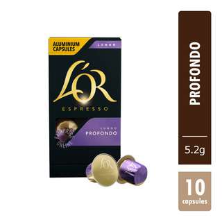 L'OR has created a newgenerationofaluminiumcapsules Profondo, an intense and spicy aroma of roasted almonds and tantalizing licorice, rounded of with a shimmering bronze mousse layer
