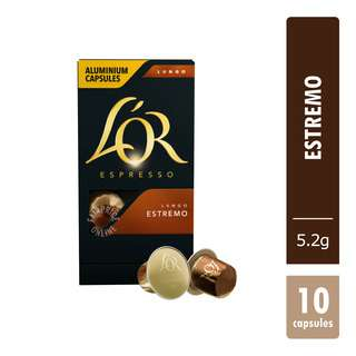 L'OR has created a newgenerationofaluminiumcapsules Estremo, an intense and dark roasted espresso, with spicy notes to achieve a powerful and full-bodied coffee experience inspired by extremes