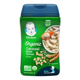 When your baby is ready for more variety, try our Gerber Organic Oatmeal Millet Quinoa Cereal (6+ months). Made with whole grains such as Oatmeal, Millet and Quinoa, it has iron to help support your baby's cognitive development and natural defences. Fortified with Calcium, Vitamins C and 6 B Vitamins for overall growth & development, Gerber delivers high quality infant cereals that ensure your baby meets his essential nutrition and are trusted by moms all over the world.