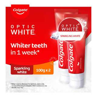 COLGATE OPTIC WHITE SPARKLING WHITE 100G TWIN 1S