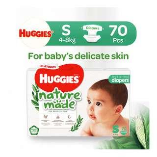 Huggies Baby Platinum Naturemade Tape Diapers - S (4-8kg)
