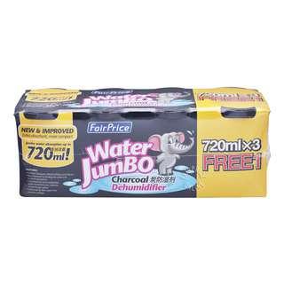 FAIRPRICE WATER JUMBO CHARCOAL DEHUMIDIFIER PROMO PACK 3+1 FREE 720ML 4S
