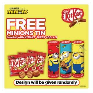 Nestle Kit Kat Milk Chocolate Wafer Bites + Free Minion Tins