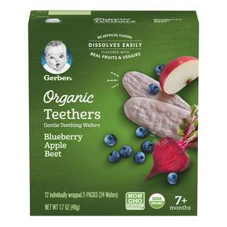 Gerber Organic Gentle Teethers Wafers - Blueberry, Apple, Beet