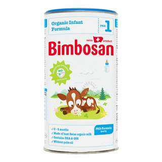 Bimbosan acknowledges that breastmilk is the best nutrition for babies. Bimbosan Organic Infant Formula Stage 1 is suitable for feeding from birth. It contains only one carbohydrate, lactose. Therefore this product corresponds to a PRE-Formula Quality. It is made from 100% finest Swiss organic cow's milk. It contains DHA (Omega-3 fatty acid) and GOS and is free from palm-oil. From birth to 6 months. <br>• 0 - 6 months of age<br>•  PRE-milk quality<br>•  Made of best Swiss Organic Milk <br>•  Contains DHA & GOS<br>•  Without palm-oil