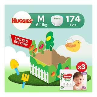 Huggies Baby Diaper Platinum Naturemade Pants - M (6-11kg) Playbox