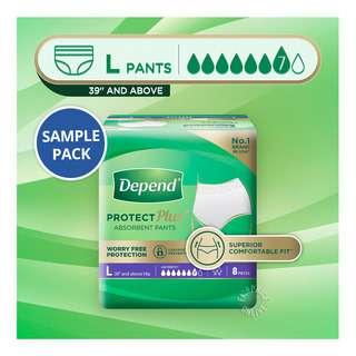 Depend Protect Plus Absorbent Unisex Pants - L