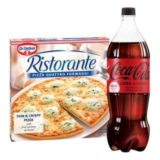 Dr Oetker Pizza (Quattro Formaggi) + Coca Cola (No Sugar)