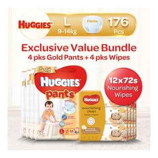 Huggies Baby Diaper Gold Pants - L + Baby Wipes