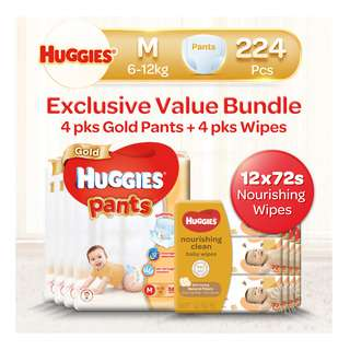 Huggies Baby Diaper Gold Pants - M + Baby Wipes