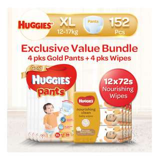 Huggies Baby Diaper Gold Pants - XL + BabyWipes