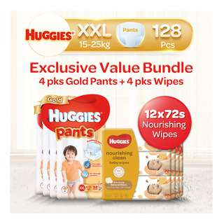 Huggies Baby Diaper Gold Pants - XXL +BabyWipes