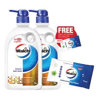 Walch Anti-Bacterial Body Wash - Classic + Free Wet Wipes
