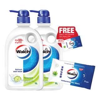 Walch Anti-Bacterial Body Wash - Refresh + Free Wet Wipes