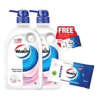 Walch Anti-Bacterial Body Wash - Moisturizing + Free WetWipes