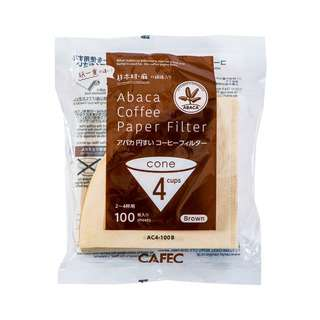 CAFEC Abaca Cone Filter Paper 4Cup (Brown)