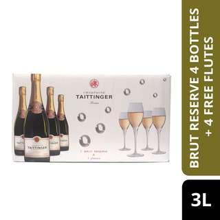 Taittinger Brut Reserve 4 Bottles + 4 Free Flutes-By Culina
