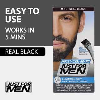 Just For Men Brush-In Color Gel for Beard & Sideburns -Real Black