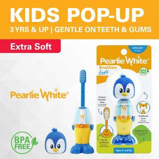 Pearlie White BrushCare Kids PopUp ExtraSoft Toothbrush Penguin