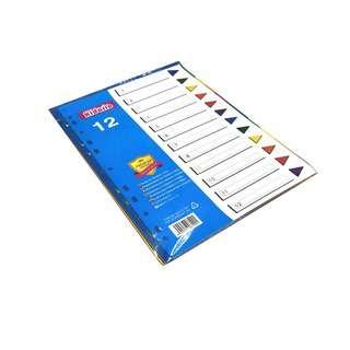 Kidario A4 Plastic Divider - 12 Tab