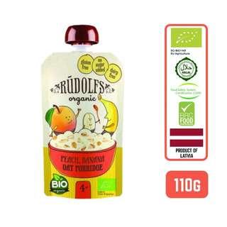 Rudolfs Puree Organic Peach Banana Oat Porridge