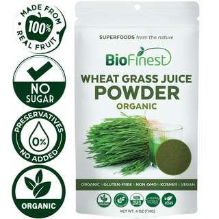 Biofinest Wheat Grass Juice Powder - Organic Pure Superfood