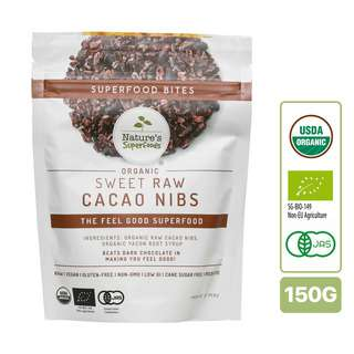 Nature's Superfoods Organic Sweet Raw Cacao Nibs (w Yacon Syrup)
