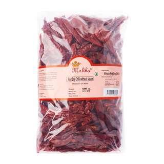 Malika Red Dry Chili Without Stem 500G -- By Dashmesh