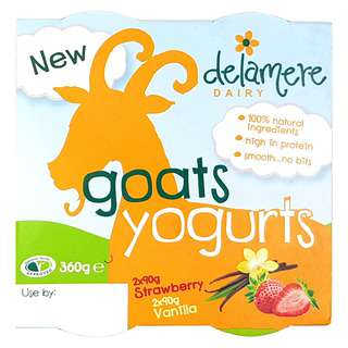 Delamere Dairy Strawberry and Vanilla 4 Pack Goats Yoghurt